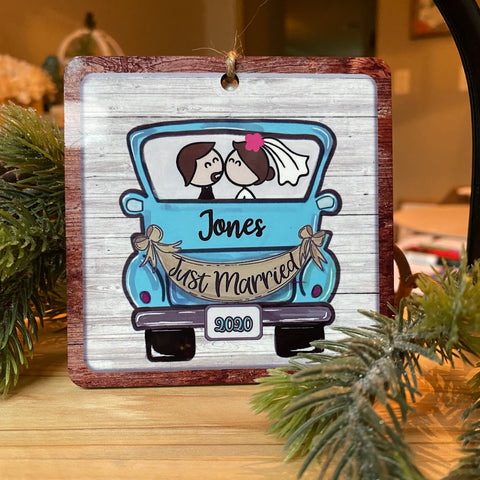 Personalized Newlywed Blue Truck Christmas Ornament