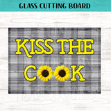 Glass Cutting Board - Kiss The Cook Sunflower