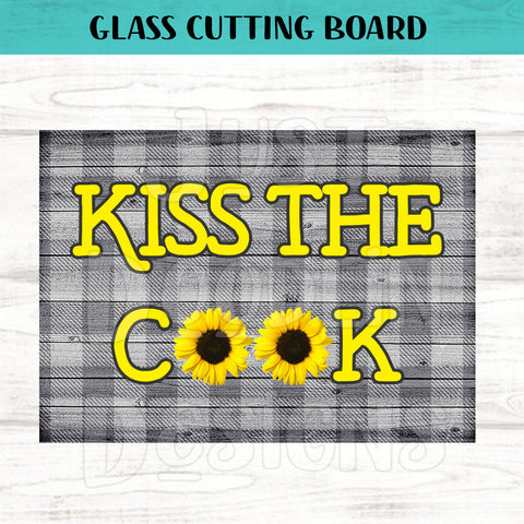 Kiss The Cook Sunflower Glass Cutting Board