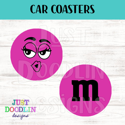 M & M Car Coaster set