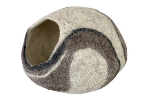 Hand Made 100% Natural Wool Cat Cave - Neutral/Brown