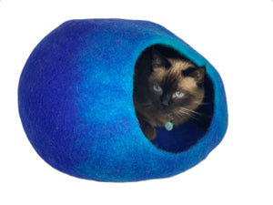 Handmade 100% Natural Wool Cat Cave - Blue
