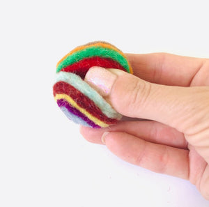 Light Weight Wool Rainbow Balls made out of felt layers-100% Premium Wool. Set of 3