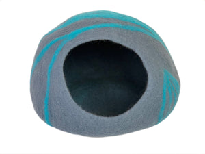 Handmade 100% Natural Wool Cat Cave - Grey & Blue