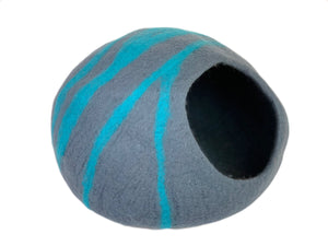 Large Cat Cave, Handmade 100% Natural Wool Cat Cave - Grey & Blue