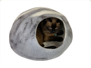 Handmade 100% Natural Wool Cat Cave - Grey Spots & Stripes