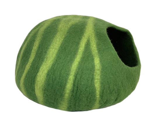 Hand Made 100% Natural Wool Cat Cave - Green
