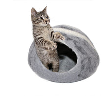 Load image into Gallery viewer, Large Cat Cave Handmade 100% Natural Wool - Grey with White Stripes