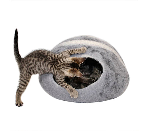 Hand Made 100% Natural Wool Cat Cave - Grey Spots & Stripes
