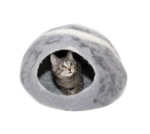 Large Cat Cave Handmade 100% Natural Wool - Grey with White Stripes