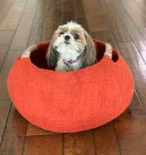 Load image into Gallery viewer, Large or Extra Large Handmade 100% Natural Wool Basket Bed - Burnt Orange/Brick with a natural hemp rope handles