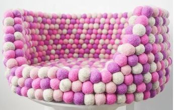 Custom Made to Order 100% Natural Wool Pet Bed - Pink