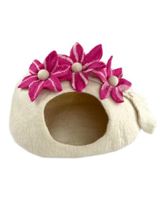 Handmade 100% Natural Wool Cat Cave - White with Pink Flowers