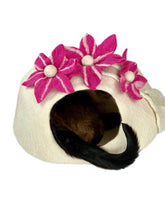 Load image into Gallery viewer, Handmade 100% Natural Wool Cat Cave - White with Pink Flowers