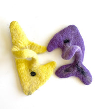 Load image into Gallery viewer, Purple Fish - Yellow Fish Interactive Wool Cat Toy (Set of 2)