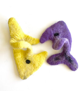 Purple Fish - Yellow Fish Interactive Wool Cat Toy (Set of 2)