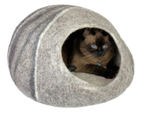 Hand Made 100% Natural Wool Cat Cave - XL Grey