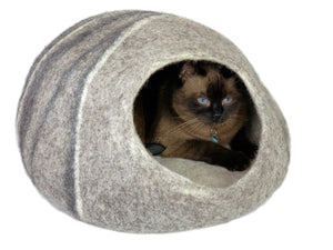 Extra Large Handmade 100% Natural Wool Cat Cave - XL Grey