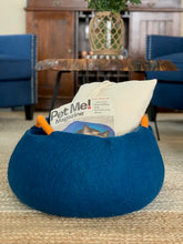 Load image into Gallery viewer, Handmade 100% Natural Wool Basket Bed -Navy Blue with orange wool handle