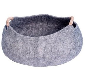 Large or Large Handmade 100% Natural Wool Basket Bed - Grey with a natural hemp rope handles