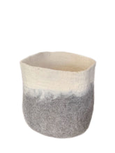 Load image into Gallery viewer, Large Handmade 100% Sheep Wool Storage Basket- Grey with White Ombré