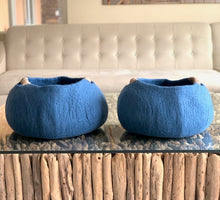 Load image into Gallery viewer, Extra Large Handmade 100% Natural Wool Basket  -Indigo Blue with natural hemp rope handles