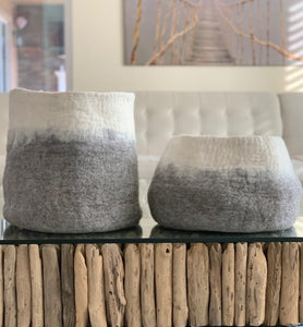 Large Handmade 100% Sheep Wool Storage Basket- Grey with White Ombré