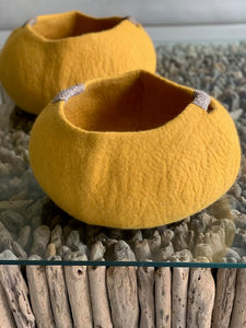 Large Handmade 100% Natural Wool Basket  - Mustard Yellow with a natural hemp rope handles