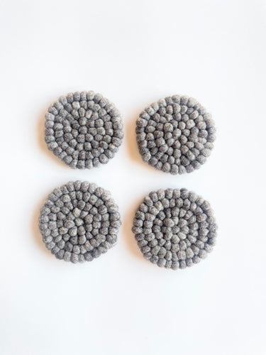 Handmade 100% Natural Wool Round Coasters - Set of 4, Gray