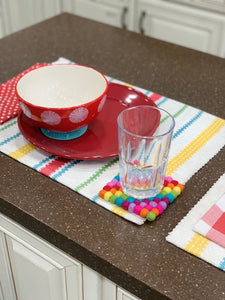 Handmade 100% Natural Wool Square Coasters - Set of 4, Rainbow