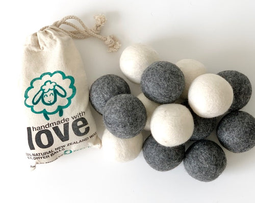 Eco-friendly Wool Dryer Balls- 6 Pack XL. White or Gray