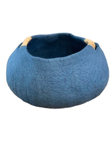 Large or Extra Large Handmade 100% Natural Wool Basket Bed -Indigo Blue with a natural hemp rope handles