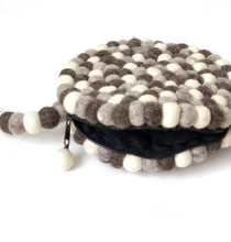 Load image into Gallery viewer, One-Of-A-Kind Handmade 100% Wool Handbag - Round, Grey