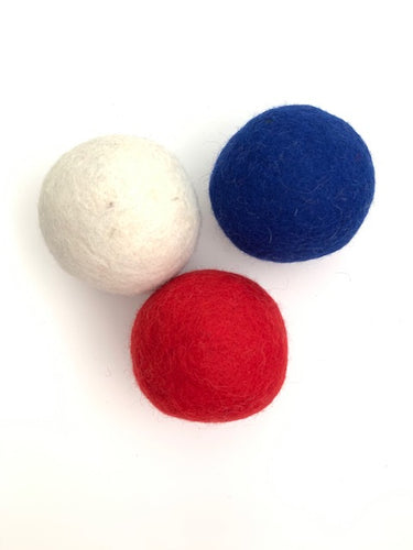 Handmade 100% Natural Wool Play Balls - Large - Set of 3