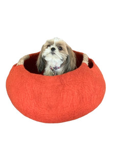 Large or Extra Large Handmade 100% Natural Wool Basket Bed - Burnt Orange/Brick with a natural hemp rope handles