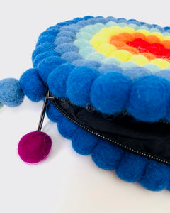 One-Of-A-Kind Handmade 100% Wool Handbag - Round, Multicolored Rings