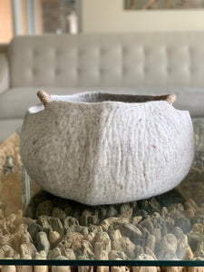 Extra Large Handmade 100% Natural Wool Basket  - Beige with a natural hemp rope handles