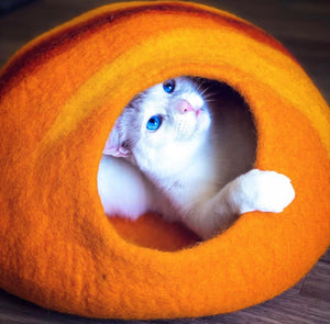 Handmade 100% Natural Wool Cat Cave - Sunset