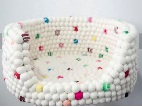 Custom Made to Order 100% Natural Wool Pet Bed - Sprinkles
