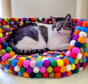 Custom Made to Order 100% Natural Wool Pet Bed - Rainbow