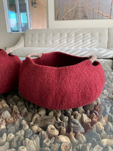 Load image into Gallery viewer, Large Handmade 100% Natural Wool Basket  -Burgundy Red with a natural hemp rope handles