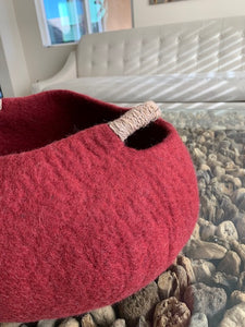 Large Handmade 100% Natural Wool Basket  -Burgundy Red with a natural hemp rope handles