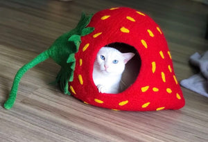 Handmade 100% Natural Wool Cat Cave-Strawberry