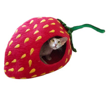 Load image into Gallery viewer, Extra Large Cat Cave, Handmade 100% Wool - Strawberry