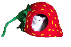 Extra Large Cat Cave, Handmade 100% Wool - Strawberry