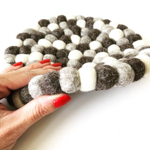 Handmade 100% Natural Wool Round Trivet - Large Grey