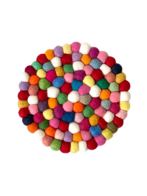 Handmade 100% Natural Wool Round Trivet - Large Multicolored