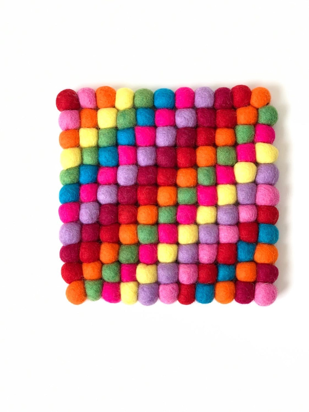 Handmade 100% Natural Wool Square Trivet - Large Rainbow