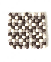 Load image into Gallery viewer, Handmade 100% Natural Wool Square Trivet - Large Grey