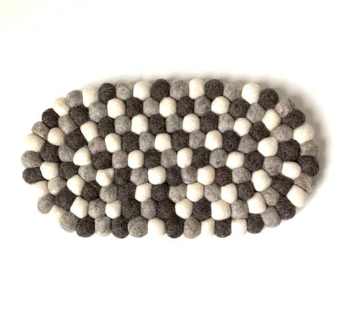 Handmade 100% Natural Wool Oval Trivet - Charcoal/Grey/White